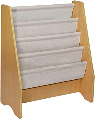 US Fast Shipment Fabal Children's Wooden 4 Layer Fabric Sling Bookcase Toy Picture Book Storage Rack Sling Bookcase   Wooden Children's Bookshelf with Pocket (A)
