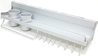 ARTC Bathroom Or Kitchen Utensil Hanging Rail Rack Organizer Wall Mounted with 8 hook