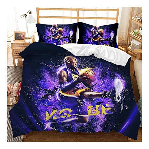 Juego De Funda Nórdica, NBA Lakers Kobe Bryan Hip Hop Street Culture Funda Textiles para El Hogar Juego De Ropa De Cama para Niños Incluido: 1 Funda Nórdica, 2 Funda De Almohada