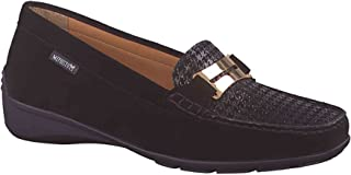 Women's Norma Fashion Moccasins, Black Leather, Rubber, Suede, 8 M