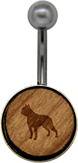 Boston Terrier Surgical Stainless Steel Belly Button Rings - Size 14 Gauge Wooden Navel Ring - Rustic Wood Navel Ring with Laser Engraved Design