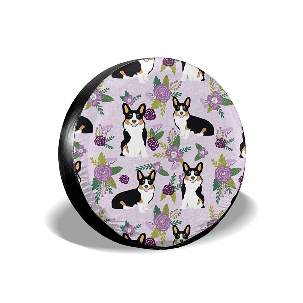X-Large tri Corgi Dog pet c Dogs Florals Polyester Universal Spare Wheel Tire Cover Wheel Covers Jeep Trailer RV SUV Truck Camper Travel Trailer Accessories(14,15,16,17 Inch)