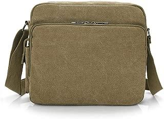 Sports Outdoor Canvas Messenger Shoulder Bag, Men Classic Big Capacity Crossbody Sling Bag Retro Style Leisure Hiking Khaki, Black, Brown (Color : Khaki)