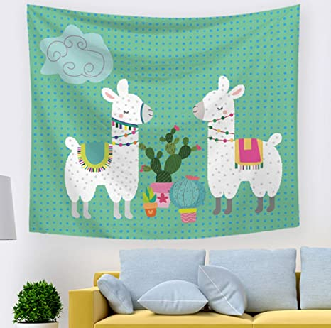 Amazon Com Llama Cactus Decor Tapestry Bedroom Wall Hangings Decorations Blanket For Kids 59 X 51 Inches Everything Else