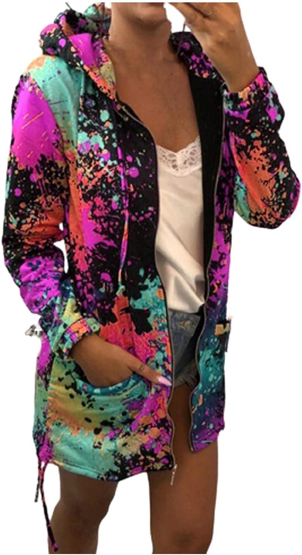 Women Tie Dye Hooded Sweatshirt Fashion Zip up Colorful Hoodie Casual Long Sleeve Pocket Drawstring Jacket Streetwear