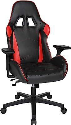 SONGMICS Speed Chair 2 Girevole Gioco, Sedia da Ufficio, Pelle Sintetica, Rosso/Nero, taglia unica