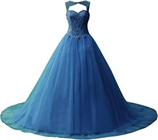 Ball Gown Quinceanera Dresses Beading Tulle Long Prom Dress Gown