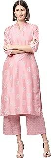 Ziyaa Women's Pink Khadi Print Straight Polysilk Kurta With Palazzo / Salwar Suit Set