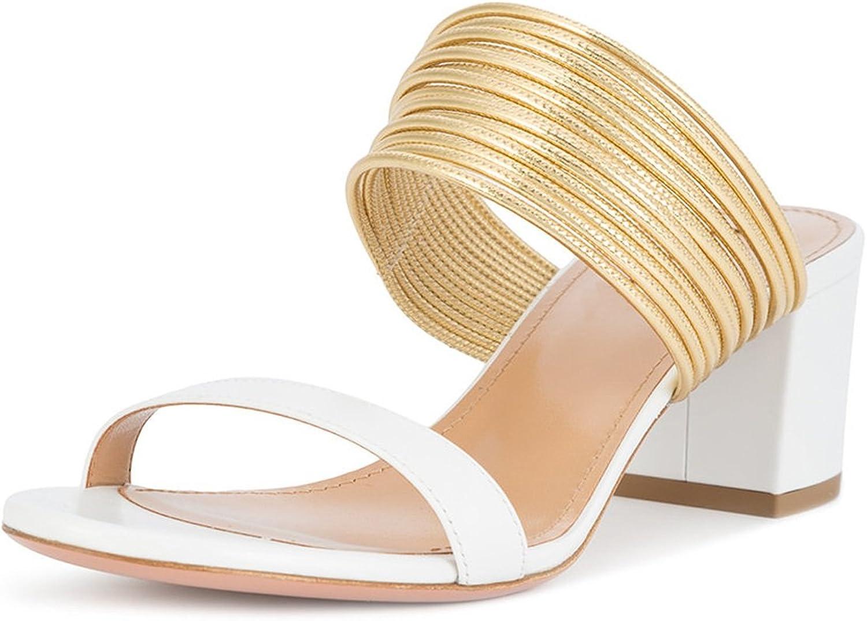 Sammitop Women's Slip-on Sandals,Open Toe gold-Tone Straps shoes,Block Heel Sandals