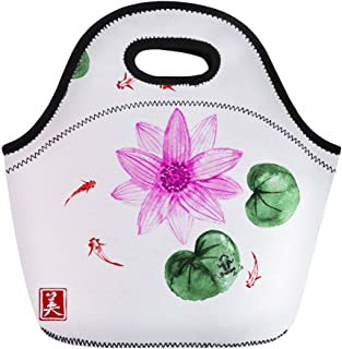 3191ce4b7b Semtomn Neoprene Lunch Tote Bag Lotos Flowers and Little Fishes in Pond  Traditional Japanese Reusable Cooler