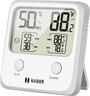 Habor Large LCD Screen Temperature Humidity Monitor High Accuracy Room Thermometer Hygrometer Indicator for Home Office Greenhouse Cellar, (3.3 X 3.2 Inch) Light White