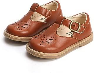 Kids Girl's T-Strap School Uniform Dress Shoe Mary Jane Princess Flats Cutout Buckle Footwear