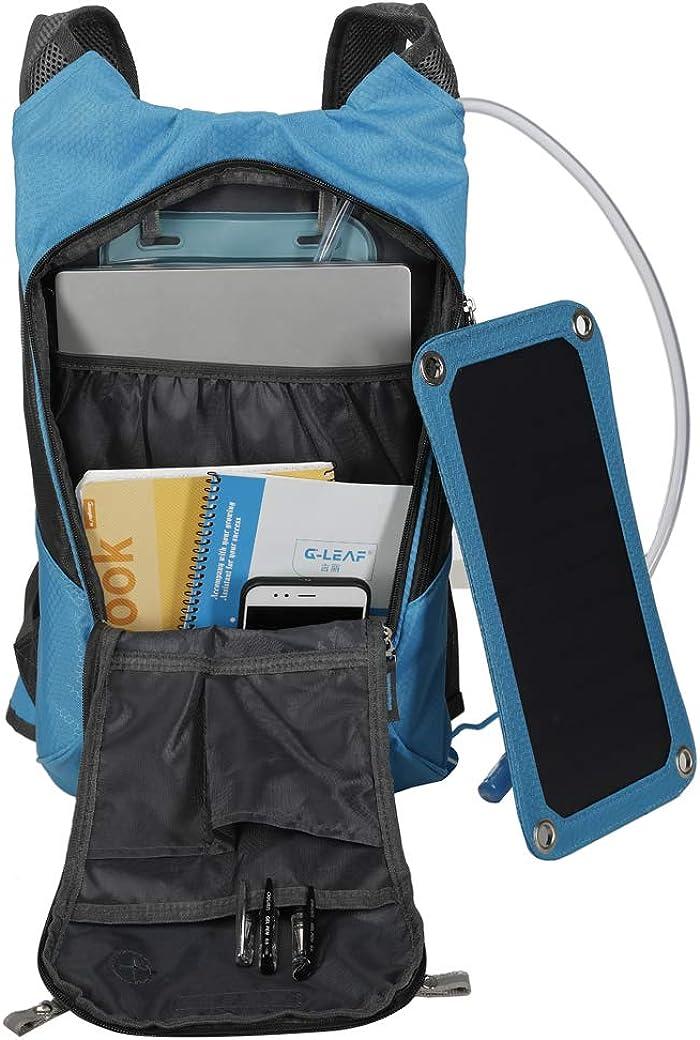 Pour v/élo sports de plein air camping Sac dhydratation amovible aliment/é par le soleil Pipe /à boire Avec batterie externe /Étanche Sac /à dos /à panneau solaire de 2 l USB