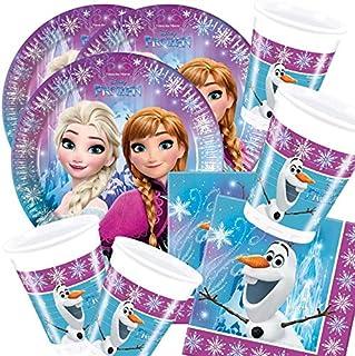ILS I LOVE SHOPPING Lot de 8 assiettes de 23 cm, 8 verres et 20 serviettes (Frozen La Reine des Neiges, Northern Lights, 8...