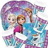 ILS I LOVE SHOPPING Kit Festa Coordinato Tavola Addobbi Party Set Compleanno con 8 Piatti 23cm, 8 Bicchieri e 20 tovaglioli (Frozen Northern Lights, Set 8 Persone)