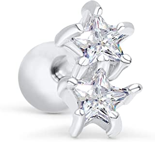 ONDAISY 14k Gold Plated Simulated Diamond Cz Mini Small Minimalist Cute Solid Constellation Flower Star Ear Barbell Ball Stud Earring Piercing