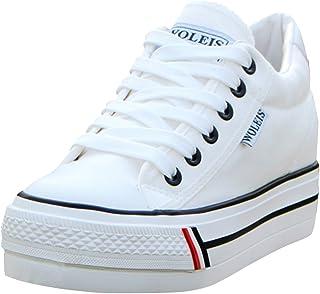 5007516be6fe6d wealsex Basket Mode Toile Plate Femme Plateforme Semelle Epaisse Chaussure  Tennis Confort Sneakers Basse