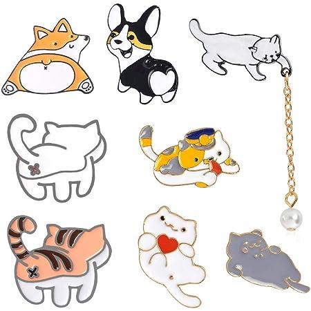 zfdg Spilla Smaltata a Forma di Gatto, 8 Pezzi Spilla con Distintivo di Gatto, Cartone Animato Spilla Badges, per Accessori per Giacca, Borsa con Colletto per Vestiti