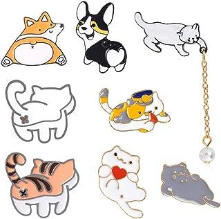 zfdg Spilla Smaltata a Forma di Gatto, 8 Pezzi Spilla con Distintivo di Gatto, Cartone Animato Spilla Badges, per Accessor...