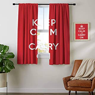youpinnong Keep Calm, Curtains Thermal Insulated, Red and White Composition with Keep Calm and Carry On Text and a Royal UK Crown, Curtains Nursery, W84 x L72 Inch Red White