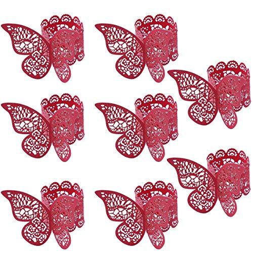 BESTOYARD Serviettenring Schmetterling Papier rot Tischdekoration Hochzeit 100 Stücke