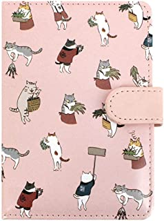 Student Cute Cartoon Cat Pattern Notebook Leather Cover Journal Diary Notepad(Pink)