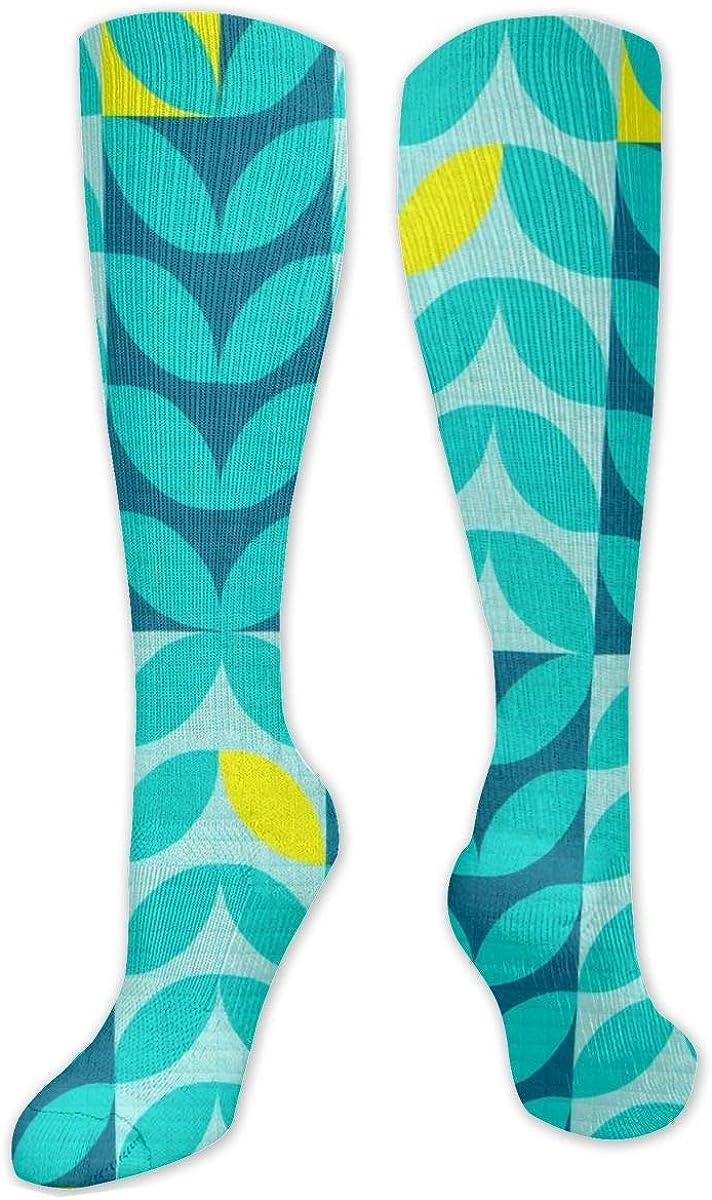 Green Leaf Knee High Socks Leg Warmer Dresses Long Boot Stockings For Womens Cosplay Daily Wear