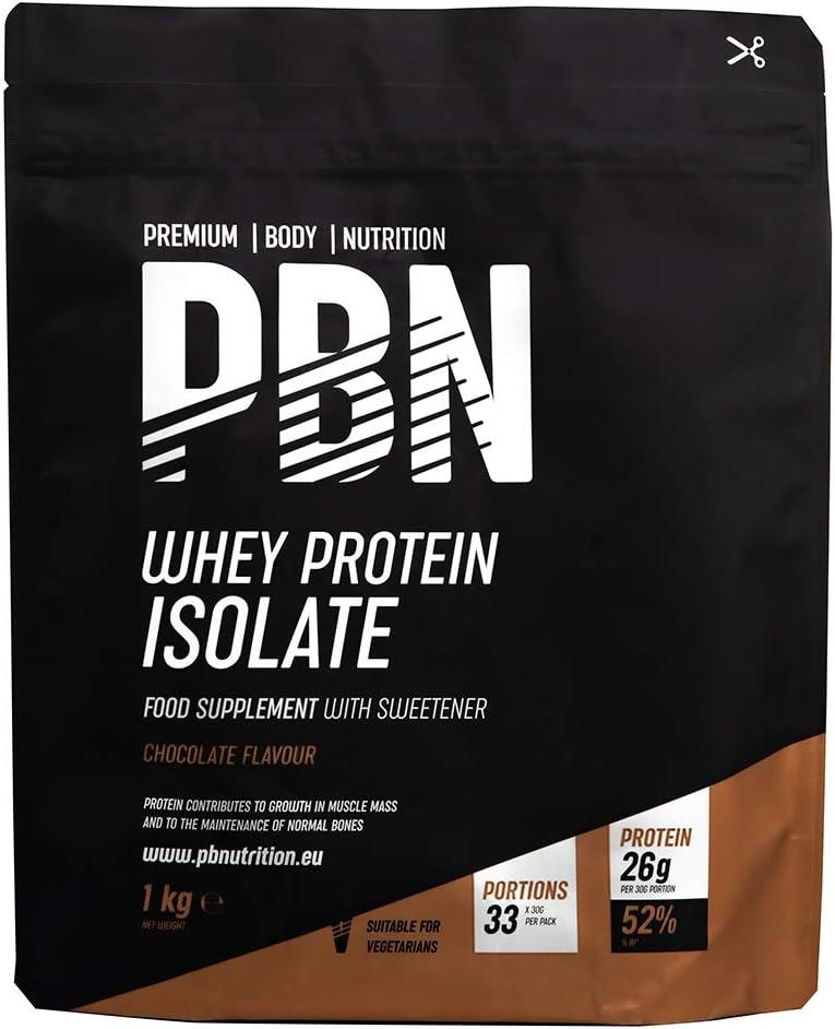 PBN Premium Body Nutrition - Aislado de proteína de suero de leche en polvo (Whey-ISOLATE), 1 kg (Paquete de 1), sabor Fresa, 33 porciones