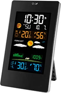 Thermometers & Meteorological Instruments Dimmable Clock with Outdoor Sensor/Alert Temperature/Humidity/Barometer/Moon Phase