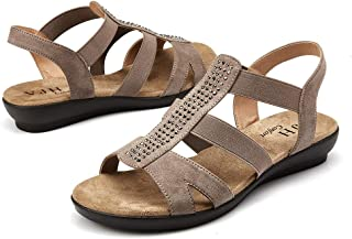 Women's Flat Sandals with Rhinestone Open Toe Elastic Slip On Slingback Comfort Casual Walking Sandals