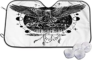 Windshield Sunshade for Car, Sketch Tattoo Art Bird Spread Wings with Nature Moon Phases Boho Elements,Front Window Sun Shade Visor Shield Cover (30 x 55) M