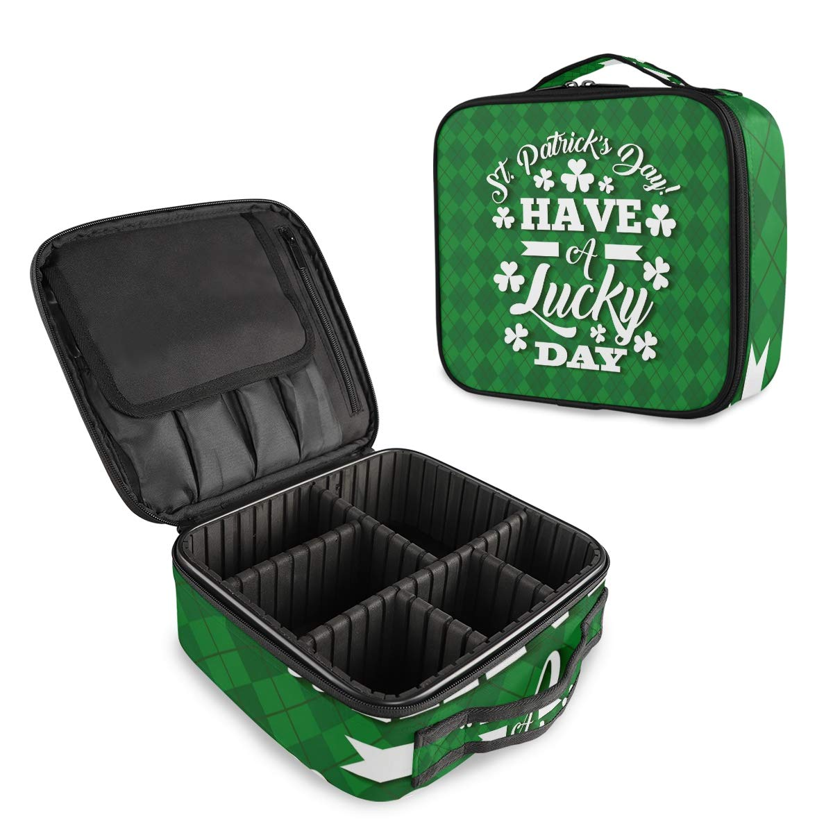ALAZA Happy Patrick's Day Oakland Mall Clover Case Leaf Plaid Makeup Max 43% OFF Cosmetic