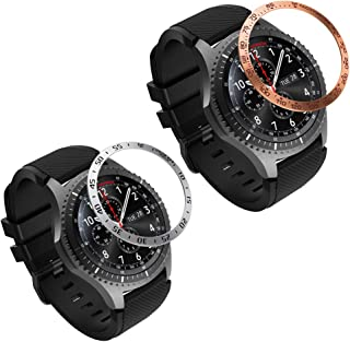 MoKo 2-Pack Bezel Ring Compatible with Samsung Gear S3/Galaxy Watch 46mm, Smartwatch Bezel Adhesive Cover Anti-Scratch Stainless Steel Protector Fit Samsung Gear S3/Galaxy Watch 46mm - Silver & Gold