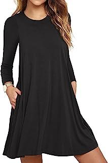 Women's Long Sleeve Pockets Casual Loose T-Shirt Dresses