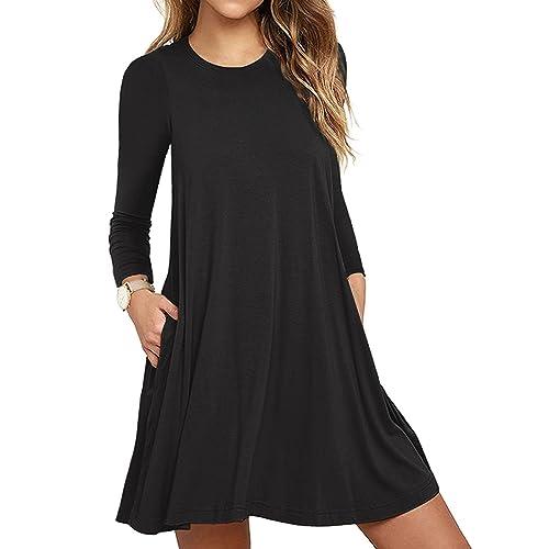 0a3df007d9347 HAOMEILI Women's Sleeveless Long Sleeve Pockets Casual Swing T-Shirt Summer  Dress