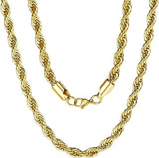 ChainsPro 3 MM Cadena SOGA, Braided Twist Rope Chain, Collar Trenzado Acero Inoxidable Plateado/Dorado/Negro, Corte Diamante, Joyería de Moda para Hombre y Mujer, Punk Hip Hop Rapper, 46-76CM Largo