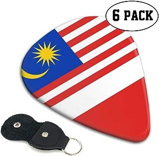 Originality Malaysia Flag Guitar Picks 3 Different Sizes/Thin, Medium, Heavy - 6 Pack