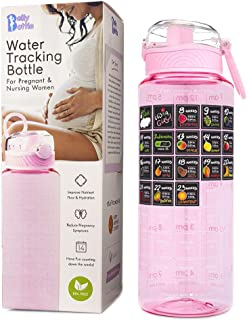 BELLYBOTTLE Pregnancy Water Bottle Intake Tracker with Weekly Milestone Stickers (BPA-Free) Pregnancy Gifts for First time...