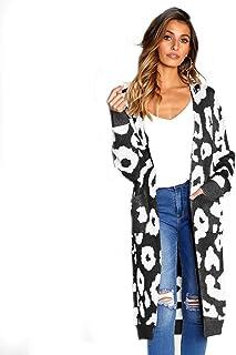 Generies Fall Winter 2020 Women's Leopard Knit Long Cardigan Long Sleeve Winter Sweater Coat Jacket