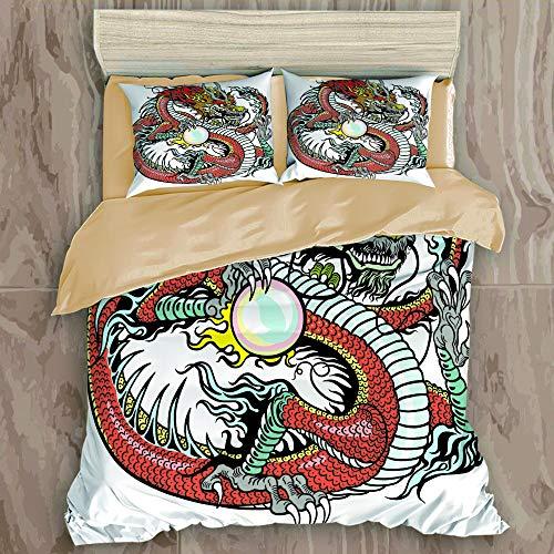 ALLMILL Bedding Bedrucktes Bettbezug-Sets,Traditionelle chinesische Kreatur des...