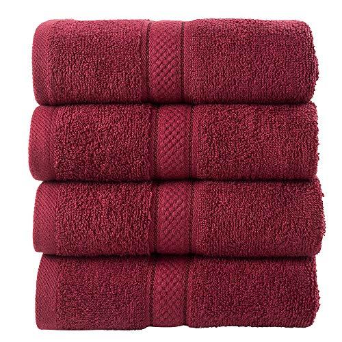 Todd Linens - Juego de toallas de regalo (500 g/m², 100% algodón), granate, 4 pcs Hand Towels Set