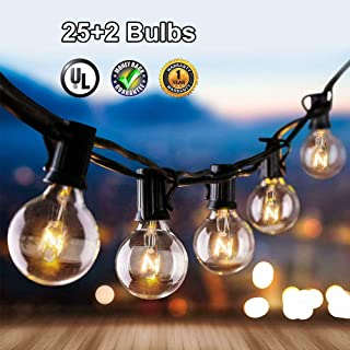 Grezea Globe String Lights G40 25Ft with 25+2 Clear Bulbs Patio Lights for Indoor Outdoor Commercial Decor Camper Party Wedding Christmas Garden Backyard Balcony Deck Yard Pergola Gazebo, Black