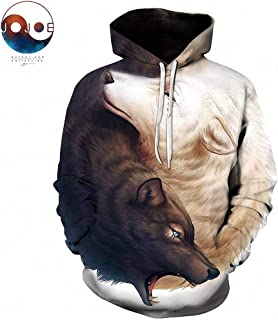 Unisex 3D Printed Pullover Hooded Yin and Yang Wolves by JoJoesArt Hoodies Wolf