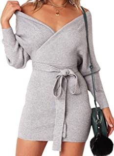 Sexyshine Women's Sexy Deep V-Neck Long Batwing Sleeve Backless Mini Slim Fit Bodycon Penci Knit Sweater Dress with Belt