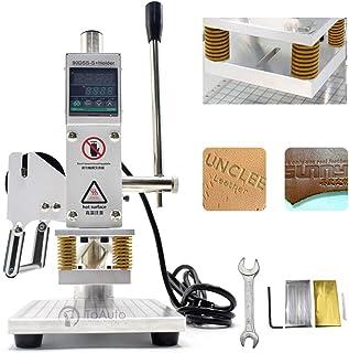 Upgraded Hot Foil Stamping Machine 5x7cm 110V Digital Embossing Machine Manual Tipper Stamper for PVC Leather PU Paper Log...
