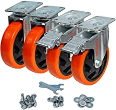 CoolYeah 5 inch Swivel Plate PVC Caster Wheels, Industrial, Premium Heavy Duty Casters (Pack of 4, 2 with Brake & 2 Without)
