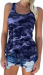 Zcavy Women's Yoga Shirts Camouflage Print Cotton Tee Racerback Tanks Running Activewear Tops