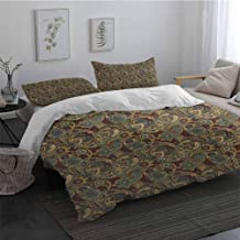 Light-Weight Microfiber Duvet Cover Set Paisley Iranian Hippie Themed Spiritual Textured Floral Ornament Persian Artwork with Zipper Closure Chocolate Sand Brown Long Twin