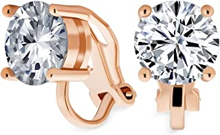 2CT Brilliant Cut Round AAA CZ Solitaire Clip On Stud Earrings For Women Gold Or Silver Plated Non Pierced More Colors