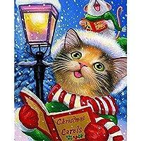 フルパーティーダイヤモンド刺繡DIYダイヤモンド絵画クロスステッチクリスマス読書子猫 フルダイヤモンド-60x70cm